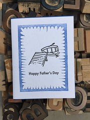 Letterpress Father's Day card (artnoose) Tags: rowing berkeley type wood wholesale card day fathers happy etsy letterpress drawing dock lake rowboat linoblock linoleum blue