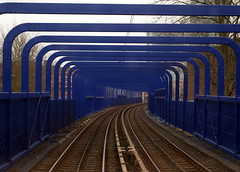 Big long Bridge on Docklands Railway near Limehouse (chrisbell50000) Tags: bridge blue light favorite london tracks railway rails docklands favourite dlr limehouse chrisbellphotocom