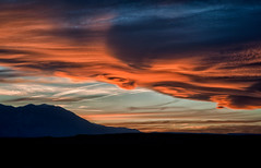 Owens Valley Sunset (Cat Connor) Tags: california sunset red sky orange mountains nature landscape cloudy scenic sierranevada easternsierra