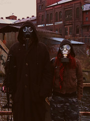 Now we must survive... t o g e t h e r (xedoo) Tags: red portrait woman man hair couple gun apocalypse gas masks together asg airsoft survive gdask postapo