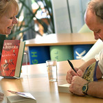 Louis de Bernières signs books at the 2004 Edinburgh International Book Festival