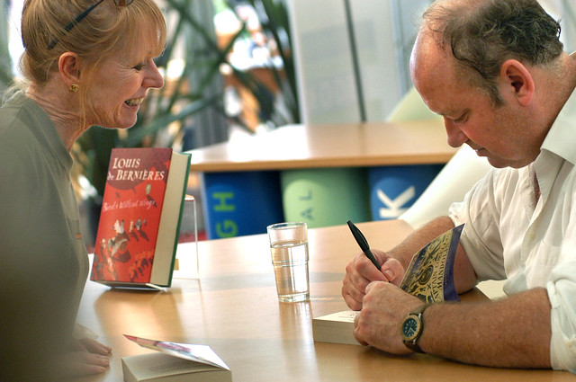 Louis de Bernières signs books at the 2004 Edinburgh International Book Festival