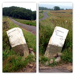 They have knocked another one over! (Mike-Lee) Tags: stone crash sheffield chipped markers milestone knockedover july2013