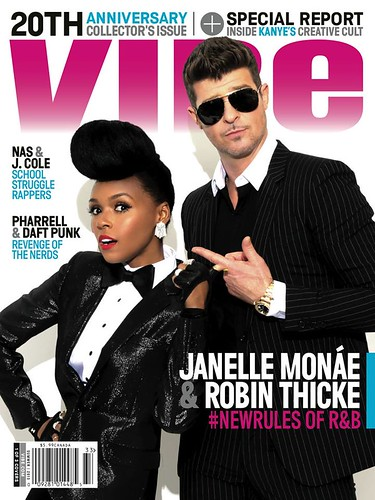 Janelle Monae & Robin Thicke Vibe Magazine cover