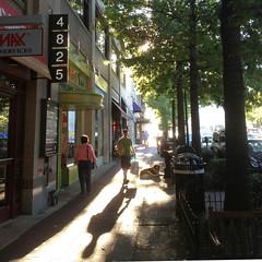 bagel run (woodleywonderworks) Tags: street morning light shadow vacation man maryland bagel ready bethesda beakfast img2483