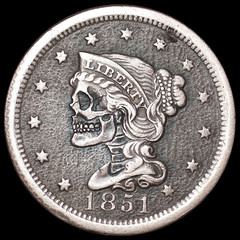 large cent skull (Seth Basista Engraving) Tags: old original art halloween skull seth scary coin war hand coins antique cent large carving made civil engraving horror nickel hobo carvings sculpted basist