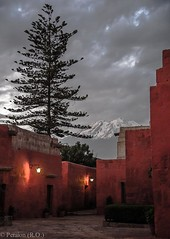 Dusk over Arequipa, Peru (Peraion) Tags: mountain snow tree peru clouds doors dusk walls peaks arequipa firtree redwalls theandes