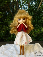 ~78~ (Merli-chan) Tags: blue red white cute green nature look rouge pull photography eyes princess skirt vert yeux queen bleu curly pullip jupe curl reine blanc cardigan rosalind bottes princesse boucles vgtation bootlicker