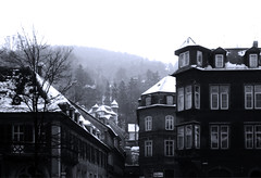 Heidelberg in 1967 (Bill Skiles) Tags: snow buildings germany heidelberg