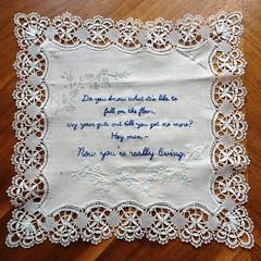 Eels Lyrics Embroidery - WIP (juliezryan) Tags: music lyrics song lace embroidery silk eels