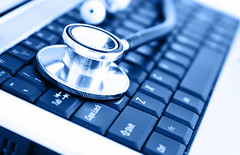 Technology and healthcare (INNOVACIÓN EN PREVENCION Y SALUD) Tags: industry modern silver hospital computer notebook office pc keyboard technology personal contemporary laptop object unitedstatesofamerica internet communication medical health data medicine care information healthcare virus stethoscope mobility touchpad