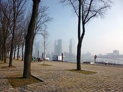 Kop van Zuid (rob.brink) Tags: world urban mist holland netherlands fog architecture port de harbor boat spring rotterdam harbour kade nederland center quay urbanism rem zuid wpc koolhaasn