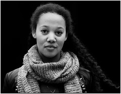 more metallic tones (jonron239) Tags: portrait london girl scarf leatherjacket streetfashion londonfashionweek streetstyle