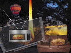 A #Flight of Fancy - h4451 (SouthernBreeze) Tags: christmas trees sunset food usa sun holiday hot rabbit texture weather leather television t tv al oven air alabama balloon flight ears couch sofa flame potato montage fancy microwave rabbitears hdtv antenna teevee mbp 2014 southernbreeze cs5