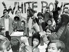 Mockery of Nazi white power at Alexandria, VA rally: 1970 (washington_area_spark) Tags: school party white black students alexandria virginia high african nazi rally protest demonstration national american va socialist 1970 racist mockery peoples