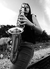 I LOVE SAXO (kchocachorro) Tags: bnw blackandwithe saxophone portraits self
