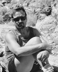 Being One With Nature (Blue Rave) Tags: bw blackandwhite 2017 bloke dude guy male mate people meninshorts guysinshorts tanktop goatee nature hike hiking sunglasses rayban wayfarer legs thighs handsome sexy stud sitting rugged