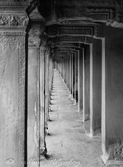 EXTERIOR CORRIDOR ANGKOR WAT, SIEM REAP, CAMBODIA The temple complex of Angkor Wat is a UNESCO World Heritage Site. It is the largest religious monument site in the world. Built in first half of the 12th Century.    P1140785.jpg (Marc Weinberg) Tags: angkorwat siemreap cambodia temple complex unesco worldheritage religion sanctuary historical religiousmonument biggestintheworld travel travelagent adventuretravel photojournalism photojournalist freelance getolympus omdem1 monochrome blackandwhite greytone architecture architecturephotography