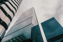 Leadenhall Building (Gary Kinsman) Tags: london 2016 kodakektar100 olympusom2 vivitar28mmf28 film cityoflondon ec3 leadenhallbuilding 122leadenhallstreet leadenhallstreet tower skyline skyscraper highrise sthelenstower thelloydsbuilding lloydsoflondon clouds overcast architecture structuralexpressionism