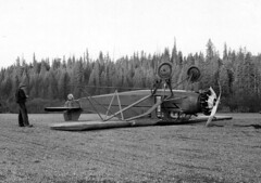 1947. Ground-looped Travelair at airstrip north of Laird Park, ID. Douglas-fir tussock moth control project. (USDA Forest Service) Tags: usda bureauofentomologyandplantquarantine bepq forestinsectinvestigations wfiwc westernforestinsectworkconference idaho douglasfirtussockmoth ddt defoliation defoliator 1947 aerialspray aerialapplication controlproject forestentomology entomology sprayproject northernidaho northeastwashington travelair lairdpark wreck groundloop airstrip 1162 usfs forestservice idahodepartmentoflands philipcjohnson jamescevenden aircraft airplane coeurdaleneforestinsectlaboratory