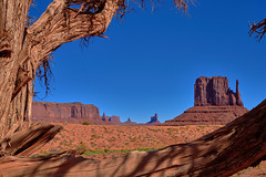 Monument Valley - Panorama in Red and Blue (W_von_S) Tags: monumentvalley monumentvalleynationalpark usa us southwest landscape landschaft panorama paysage paesaggio natur nature red blue redrocks sky rot blau tree frame rahmen wvons werner sony outdoor 2016 felsen rocks baum utah arizona wüste desert