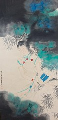 28-Zhang Daqian Lady with a Fan and Bamboos in Splashed Colors 張大千作潑彩竹葉紈扇仕女圖