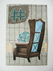 "DAY 308 - 12/20 - ""Confusion"" (The Paper Button Studios) Tags: abstract art thread collage chair mixedmedia sewing seat frustration confusion homedecor hashtag sewonpaper karimcdonald"