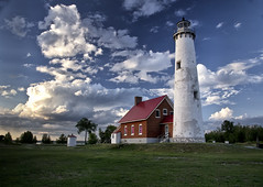 Tawas Point Lighthouse (kweaver2) Tags: statepark sky lighthouse building tower architecture photography michigan greatlakes lakehuron tawas fineartphotography tawaspoint naturephotography kathyweaver