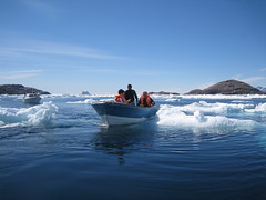 Greenland. (VERUSHKA4) Tags: travel blue light summer two sky people woman white mountain snow men ice nature water canon denmark island three boat photo europe day photographer view image july sunny tourist jour ciel shore greenland danish iceberg vue biggest astounding
