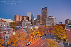 Downtown Denver Skyline at Dawn with Autumn Colors (Bridget Calip - Alluring Images) Tags: city morning autumn windows sky fall glass architecture buildings downtown skyscrapers scenic cityscapes officebuildings denver crime blueskies 2012 crowded denverskyline downtowndistrict bridgetcalip