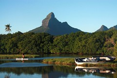 Let's dream...#3 (Sokleine) Tags: mountain beach water landscape boats seaside indianocean mauritius paysage ilemaurice océanindien
