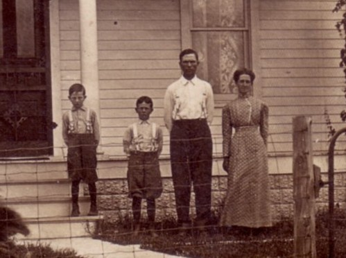 Close up of John Livingston and family including Elmer and Orin