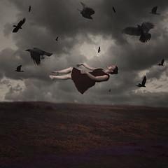 Daydreamer (Erin Graboski) Tags: portrait selfportrait art nature girl field birds digital dark photography a