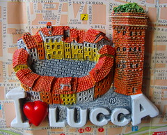 I love Lucca (Cristina 63) Tags: houses italy europa europe italia heart map tetti lucca case roofs souvenir tuscany toscana cartina magnet cuore calamita torreguinigi piazzaanfiteatro magnete vision:text=0636 vision:outdoor=0627
