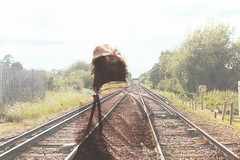 The trail we blaze (Hoppipolga) Tags: travel summer england girl train photoshop sussex friend estate dream trail journey rails teenager blaze blondie amici amicizia viaggio ragazza sogno viaggiare