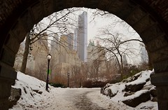 Central Park-Inscope Arch, 01.25.14 (gigi_nyc) Tags: nyc newyorkcity travel winter snow centralpark centralparksouth thepond inscopearch