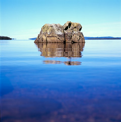 Pielinen (miemo) Tags: summer sky lake reflection 120 6x6 film nature water rock analog finland landscape europe fuji hasselblad velvia epson fujifilm analogue velvia100 500cm koli pielinen v750