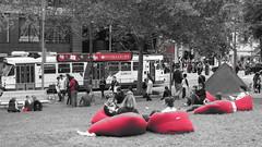 Bean Bag Day (Let my photography tell you my story) Tags: red blackandwhite bw canon fun blackwhite australia melbourne powershot enjoy laugh cbd enjoying beanbags s100 melbournestatelibrary canonpowershots100
