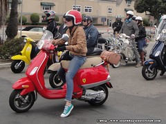 Amanda @ the gas stop (South Bay Scooter Club) Tags: orange sc club bay south hard scooter pack crush