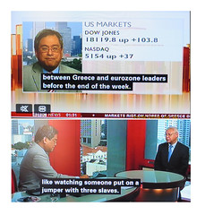 2015_06_230001 - a jumper with three slaves (Gwydion M. Williams) Tags: uk greatbritain england funny britain humor humour greece subtitles captions subtitle misprint austerity misprints eurocrisis grexit greekeurocrisis