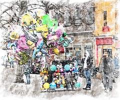 Balloon seller (Cheviot-walker) Tags: watercolour ballon york repotage