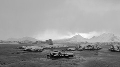 Just like oil on my hands (OR_U) Tags: 2017 oru norway lofoten ballstad bw blackandwhite blackwhite schwarzweiss monochrome fog mist snow ice winter islets widescreen 169 mountains sea water weather snowing oil refinery corinnebaileyrae industry lighthouse