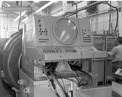 Atlas Collection Image (San Diego Air & Space Museum Archives) Tags: 1968 vibration vibrationtest vibrationlab modallab modaltest cathoderaytube console testconsole crane liftingsling eiarack 19inchrack stripchartrecorder chartrecorder worker