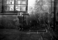 Flew away! (series Parallel World) (sergeyvaraksin) Tags: multi¬exposure doubleexposure street canon 50e monochrome blackandwhite bw dream concept art analogue film camera analog surreal creative tamron outdoor human person people child girl boy kids children
