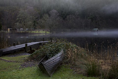Loch Ard Trinity (Andy Magee) Tags: lochard loch water landscape trossachs trees mist jetty boat boathouse building canon tamron