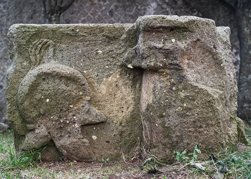 Lanuvium 15: peperino frieze block with relief of Hellenistic helmet