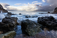 Shark Bay (waltmanNZ) Tags: ocean new sea seascape beach clouds canon landscape bay shark rocks exposure waves may zealand multiple manual splash plenty waihi blend sigma1020mm 2013 60d