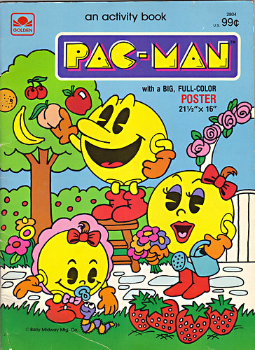 GOLDEN BOOKS :: PAC-MAN activity book with a BIG, FULL COLOR POSTER (( 1983 ))