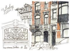 Liège, rue Etienne Soubre, 29 (gerard michel) Tags: architecture sketch belgium artnouveau façade liège croquis josephcrahay