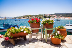 Kokari harbor (VictorMk1 (read my profile)) Tags: flowers favorite haven harbor chairs greece pots faved egeo samosprefecture